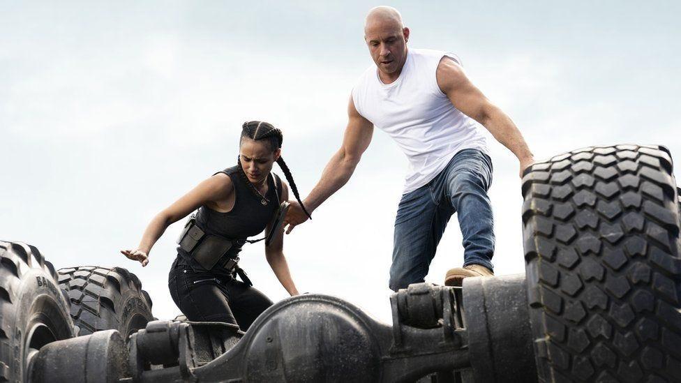 Nathalie Emmanuel and Vin Diesel in Fast & Furious 9