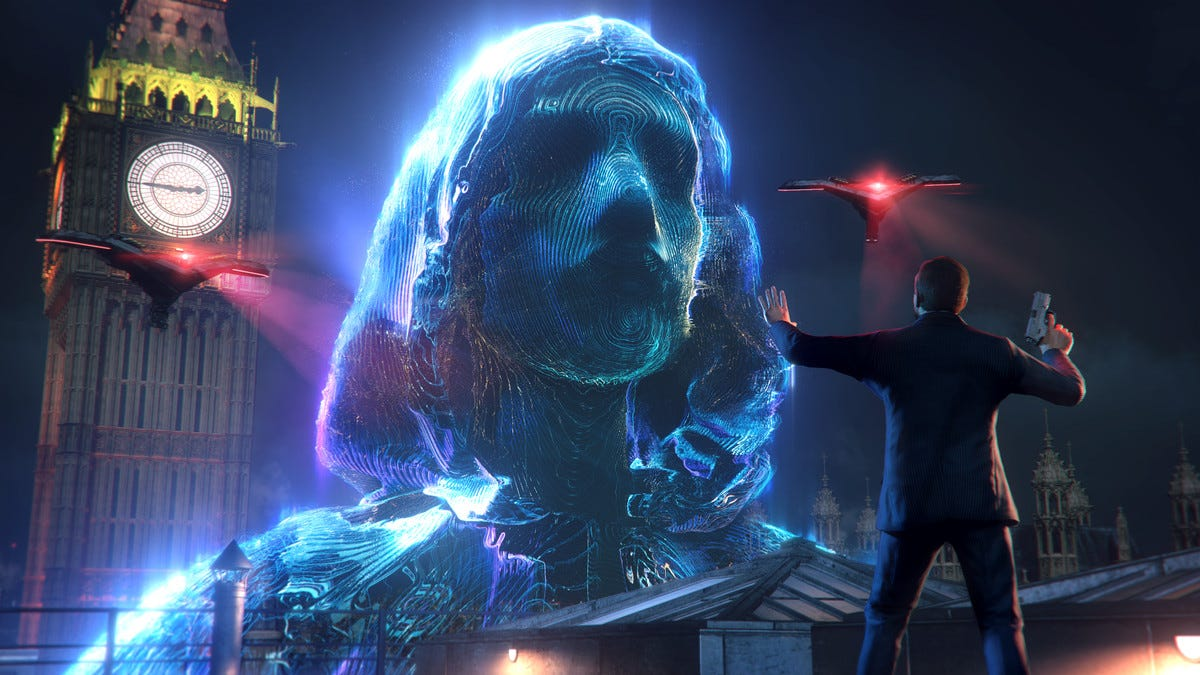 A screenshot from Watch Dogs: Legion's intro mission, featuring a Zero Day hologram
