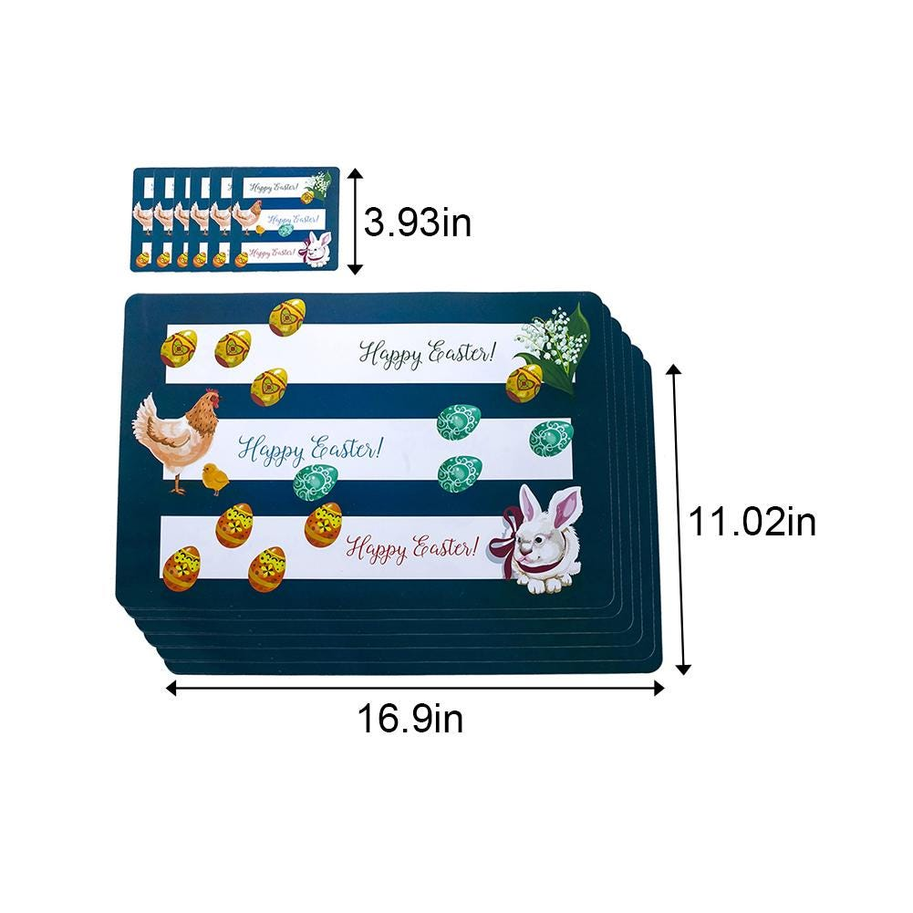 Easter Design Placemat Set PVC Printed Dining Room Kitchen Table Mat Holiday Home Decorations 6 Placemats And 6 Coasters
