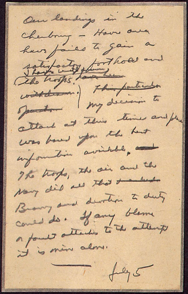 Eisenhower in case of failure letter