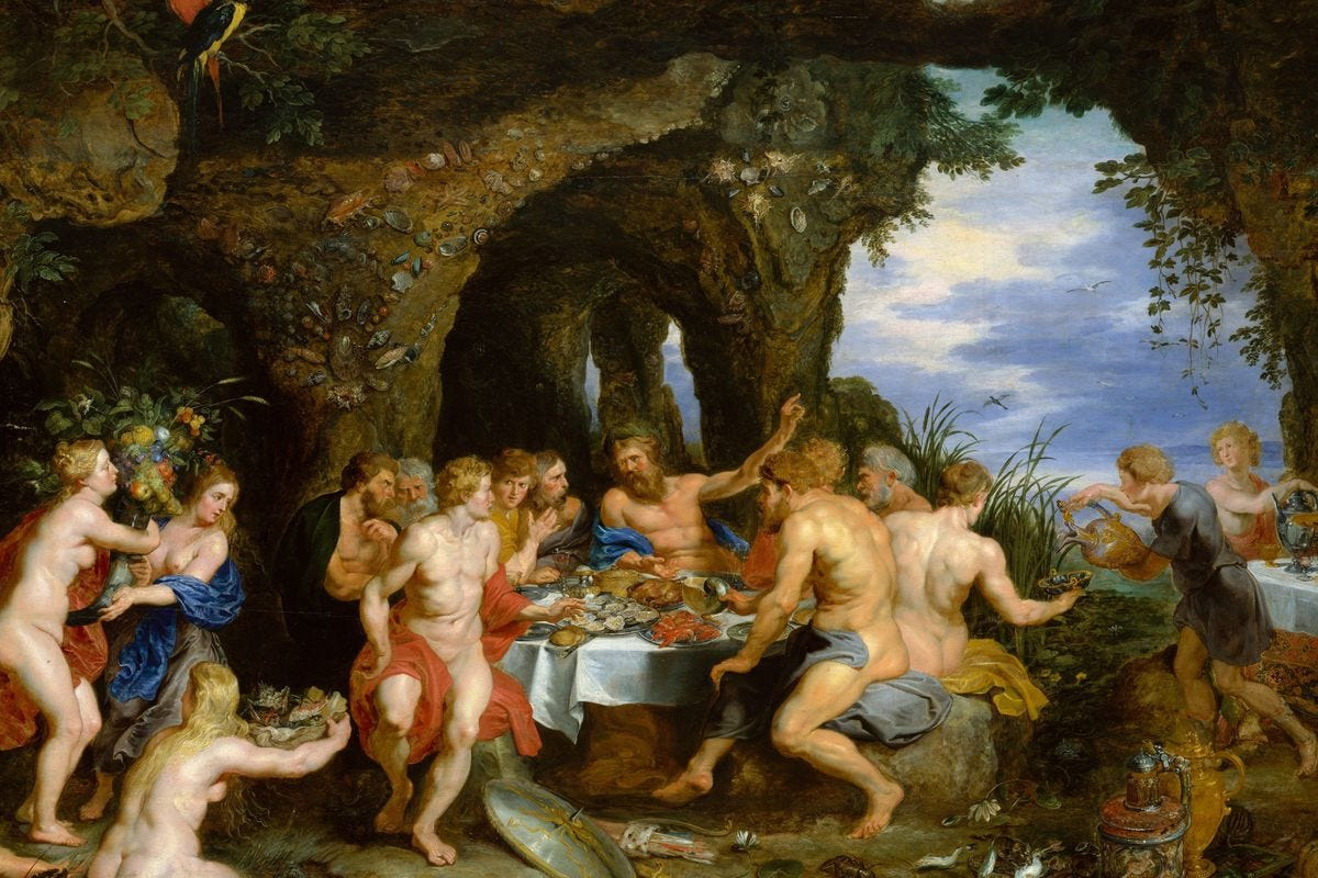 Peter Paul Rubens' The Feast of Acheloüs, which is used on the pop-up's website
