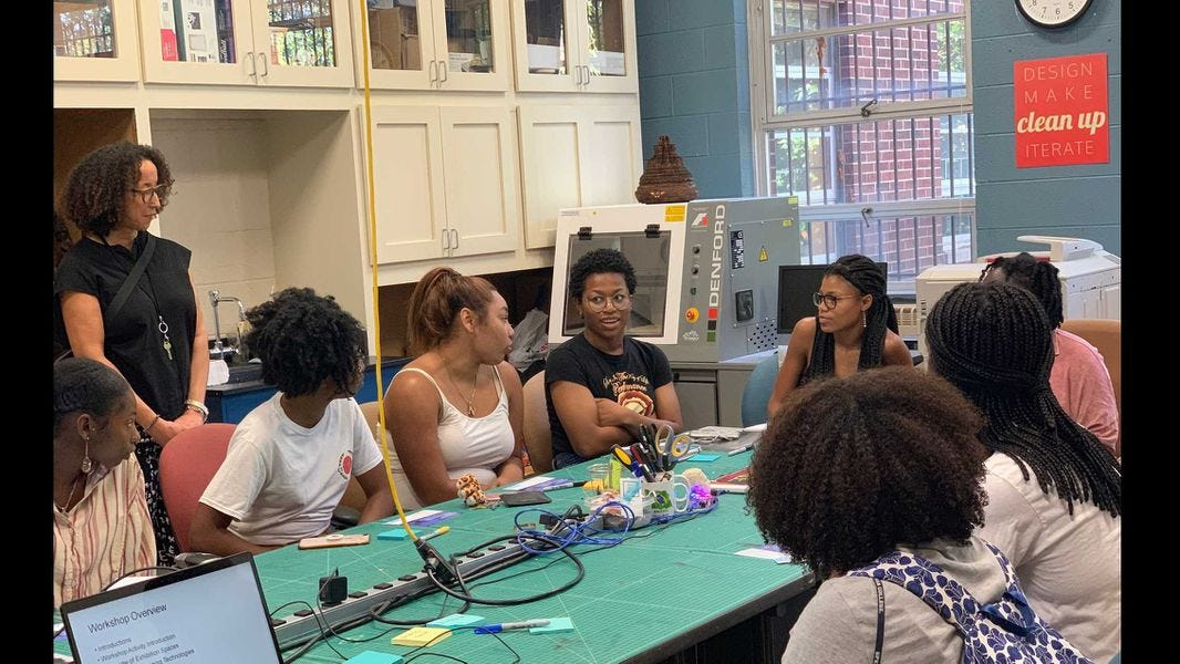 A group of Spelman College students participate in a September 2019 innovation workshop. The college will be part of a partnership, which is being funded by a $10 million Bank of America grant, to help aspiring Black entrepreneurs. PHOTO CREDIT: Spelman College.