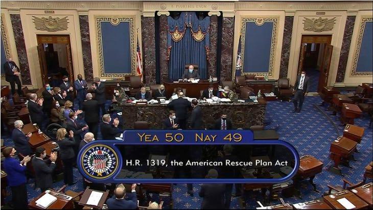 Screenshot of Senate vote on American Rescue Plan, Yea 50, Nay 49. Crowd of Senators clapping.