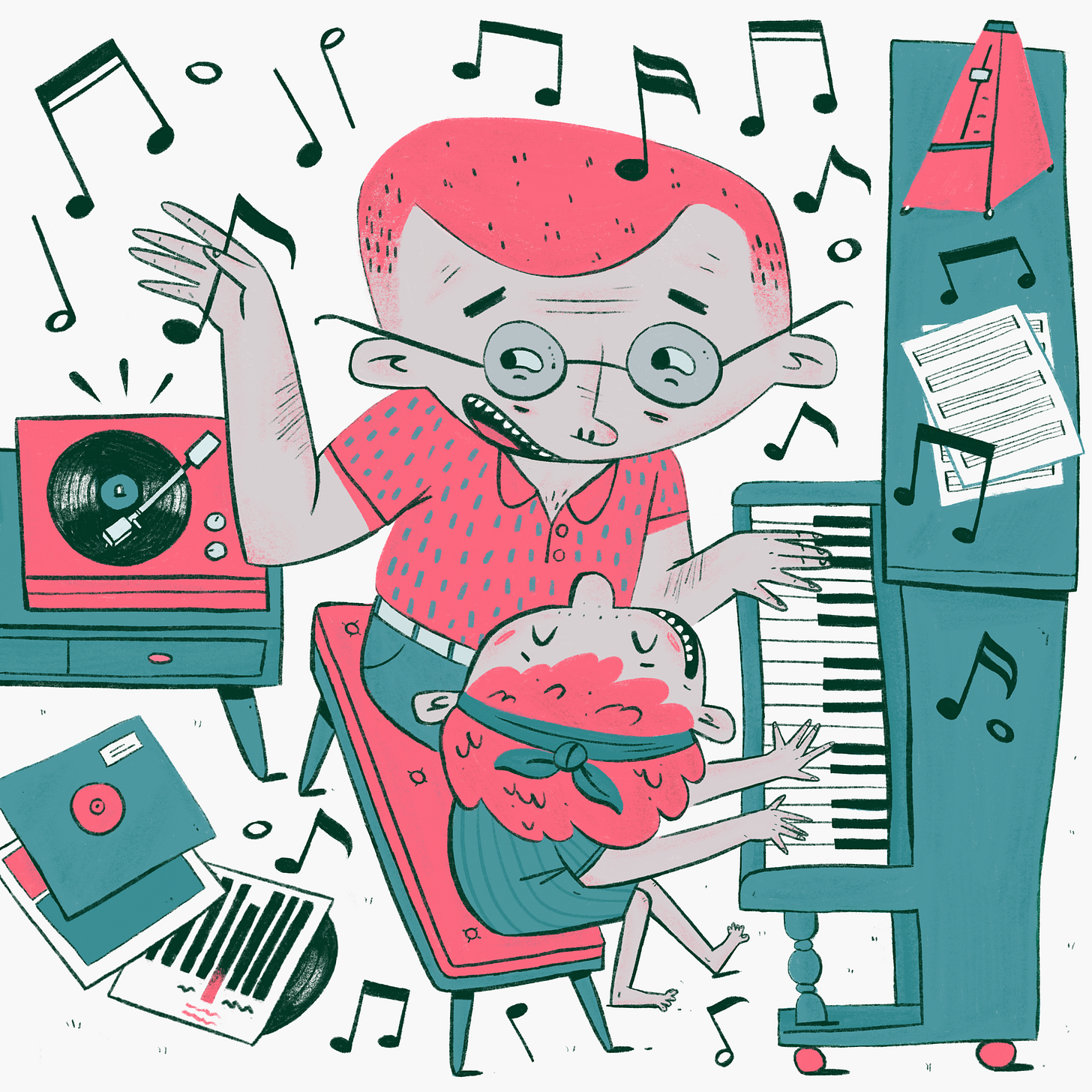 An illustration of a man teaching his daughter how to play the piano