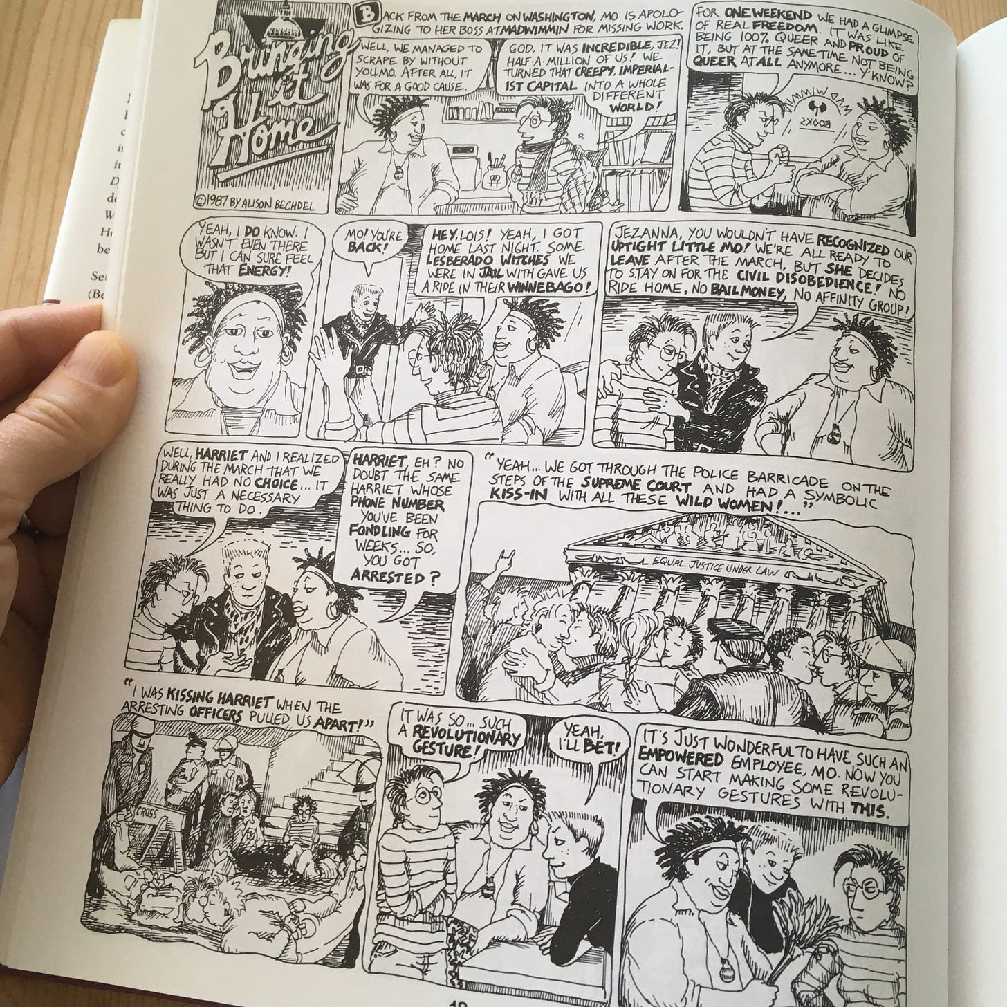 Photo of a 1987 strip in the Essential DTWOF featuring Jezanna, Mo, and Lois (Before there was Shane, there was Lois)