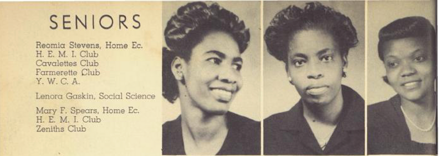 Reomia Stevens, Lenora Gaskin, Mary F. Spears yearbook portraits