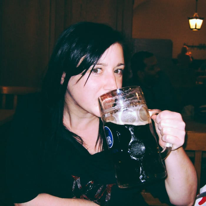 Drinking one litre of beer.
