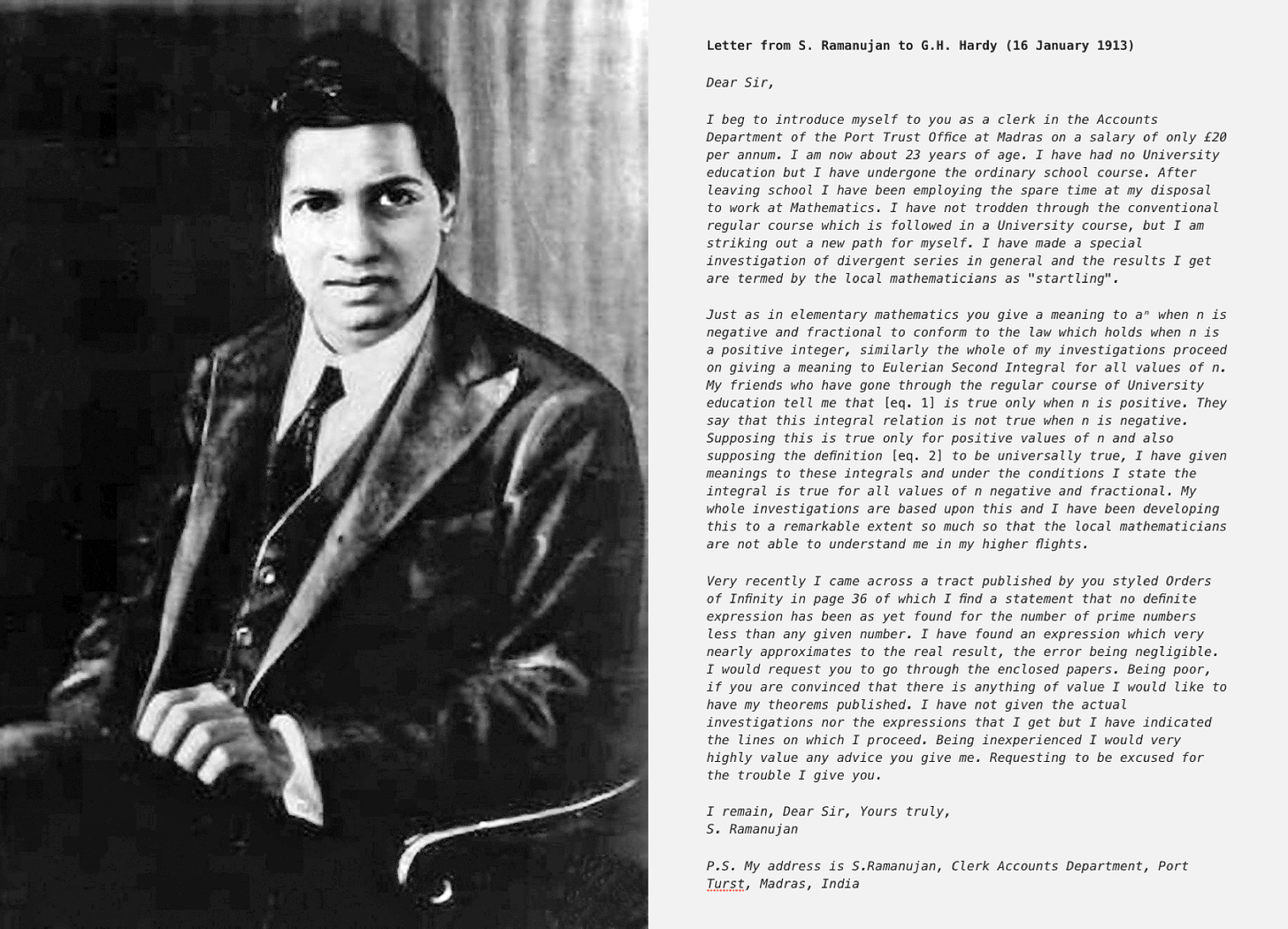 Ramanujan's First Letter to G.H. Hardy