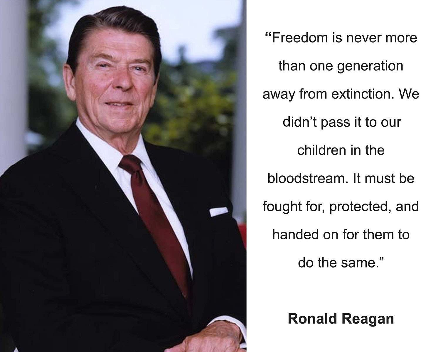 Amazon.com: Ronald Reagan Freedom is Never Quote 8x10 Photo: Photographs