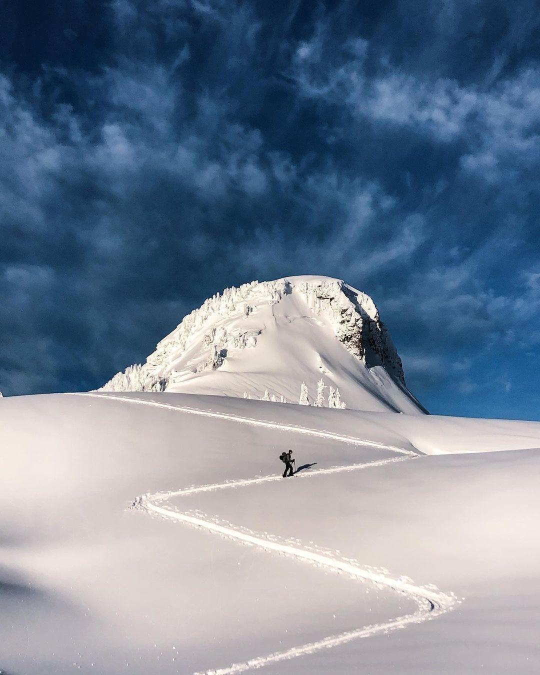Ski touring up a mountain