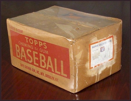 Cardboard box of 1952 Topps baseball cards