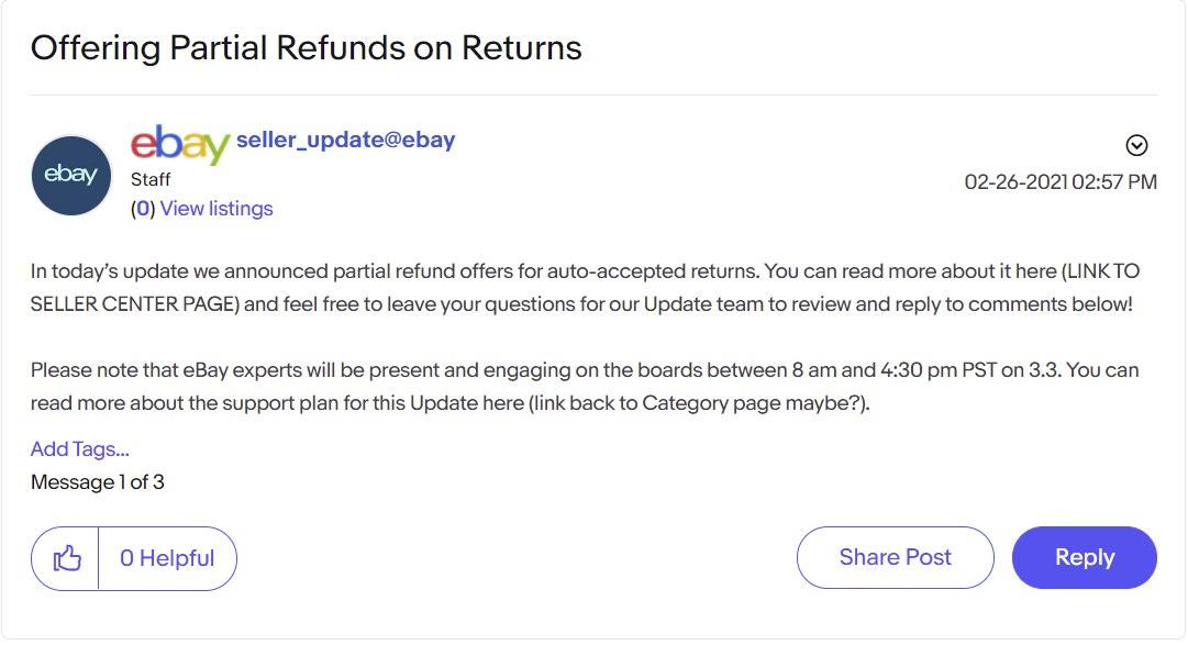 eBay Spring Seller Update Partial Refunds