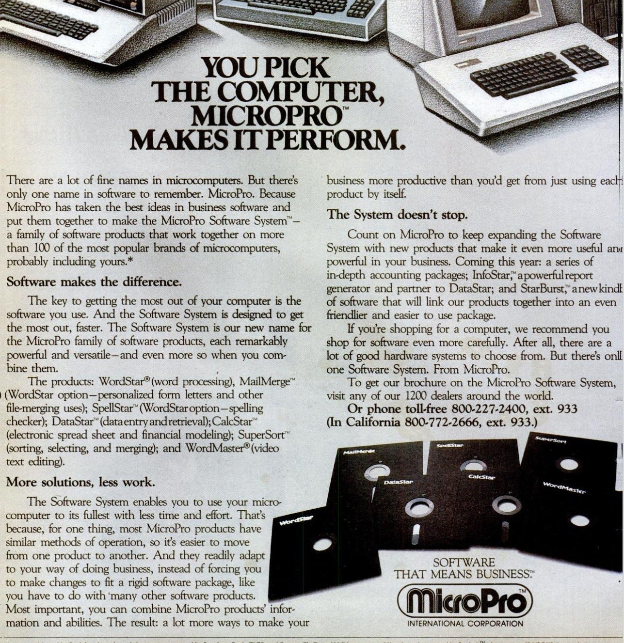 Advertisement for Micropro showing spelling sorting etc all as separate products.