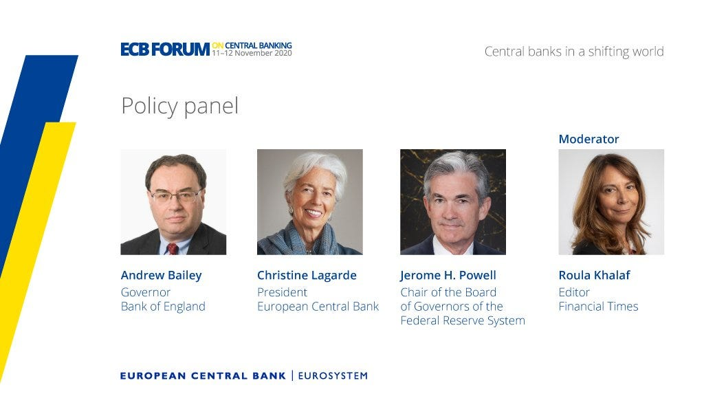 """European Central Bank on Twitter: """"What would you like to ask Andrew Bailey,  Christine @Lagarde and Jerome Powell? Post your question using #ECBForum by  Thursday, 12 November at 12:00 CET – it"""