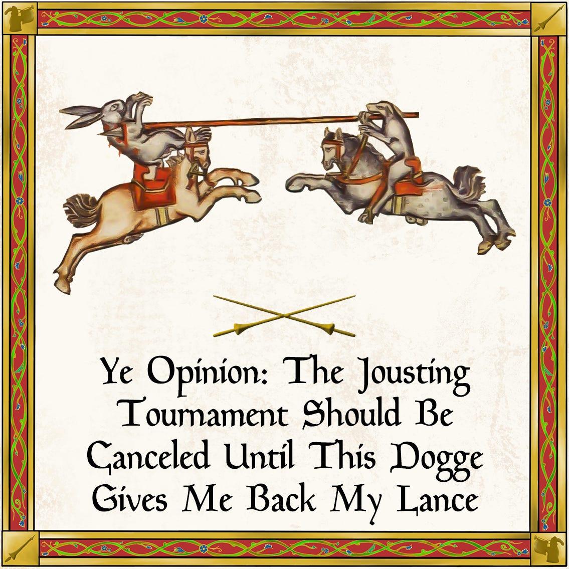 Dog Jousting a Rabbit