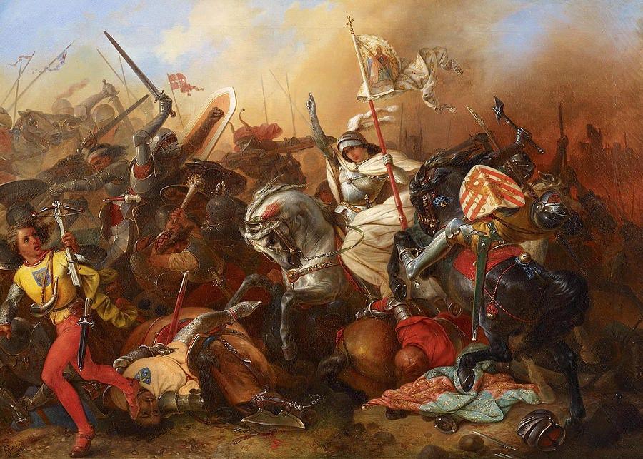 Joan of Arc in the Battle Painting by August Gustav Lasinsky