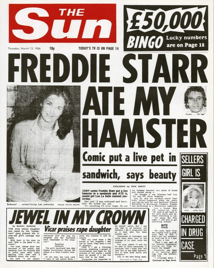 The Sun's Freddie Starr ate my Hamster Frontpage