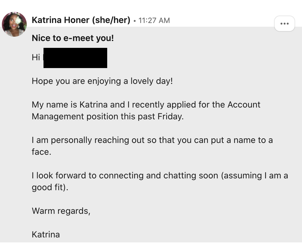 Linkedin outreach message