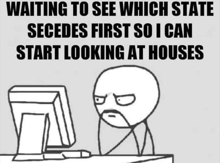 May be a meme of text that says 'WAITING TO SEE WHICH STATE SECEDES FIRST SO I CAN START LOOKING AT HOUSES'