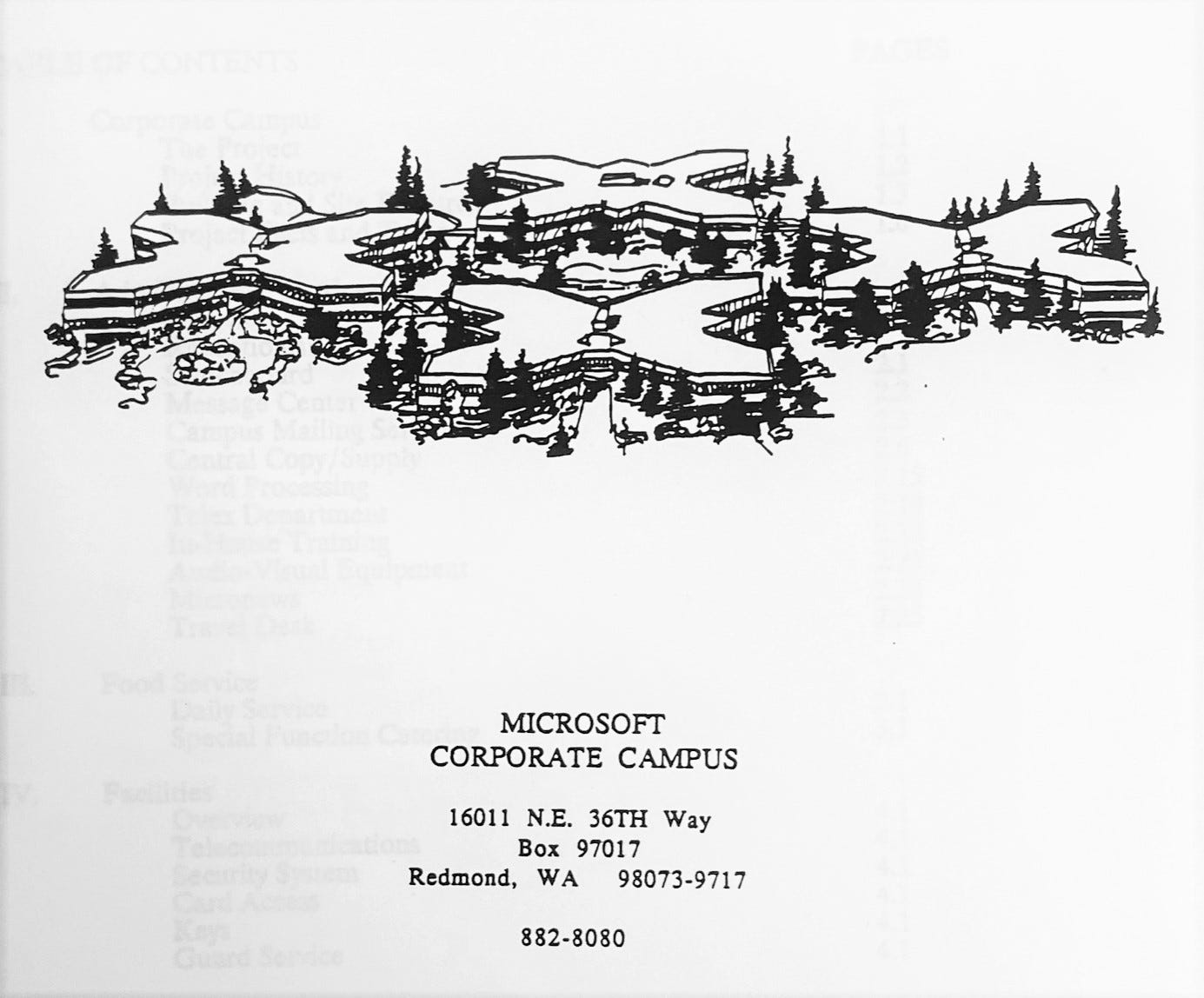 Photocopy of image of corporate campus showing 4 buildings.