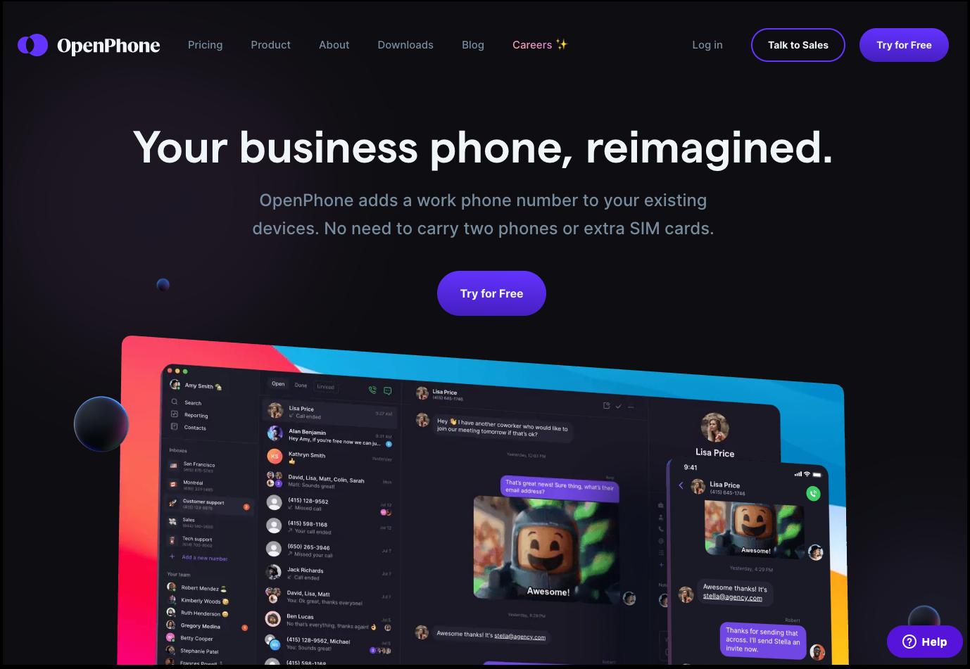 OpenPhone's homepage