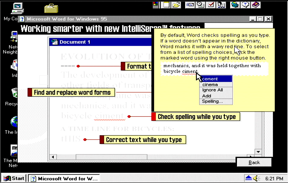 Getting Started screen for check spelling while you type.