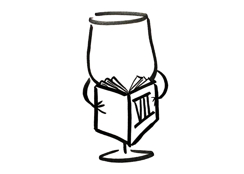 Anthropomorphic wine glass reading a book