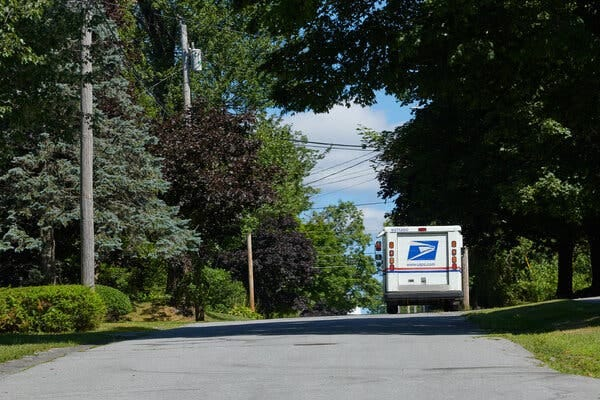 A Postal Service truck in Thomaston. Some rural residents are wondering whether they could still trust the mail to handle their packages, animals and ballots.