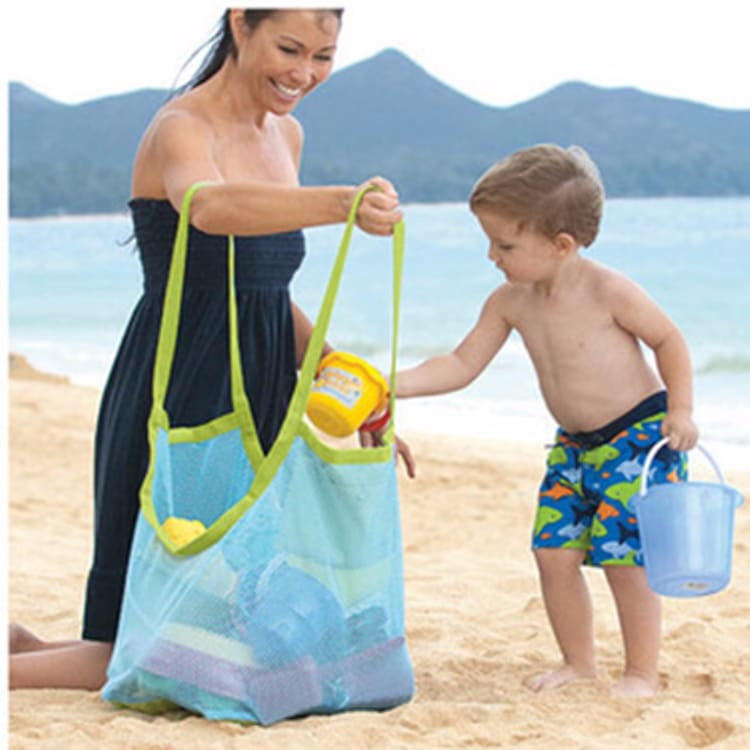 Folding Kids Baby Sand Away Carry Beach Toys Pouch Tote Mesh Large Childrens Storage Bag Toy Collection Storage Bag Pouch