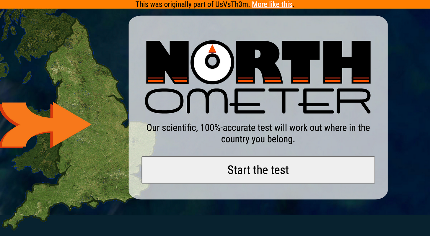 Screen shot of the North-o-Meter. It features a map of the UK on the left with an orange arrow hovering around the middle. To the right is the North-o-Meter logo above a 'Start the test' button.
