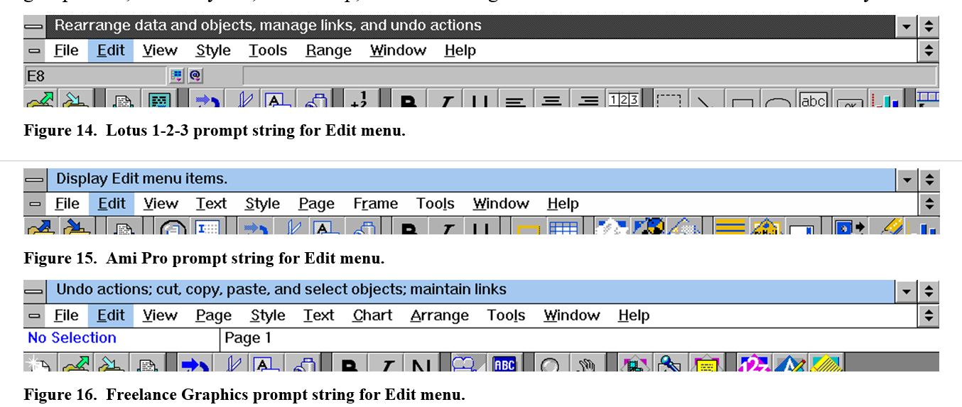 Comparison of top level menus and the prompt string in the title bar across Lotus 1-2-3, Ami Pro, and Freelance in SmartSuite. They are all very different.