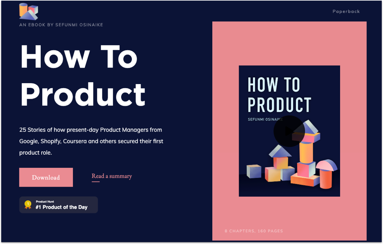How to Product's landing page