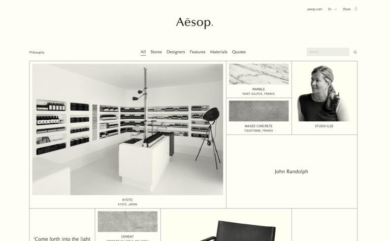 Aesop — Taxonomy of Design — Siteinspire