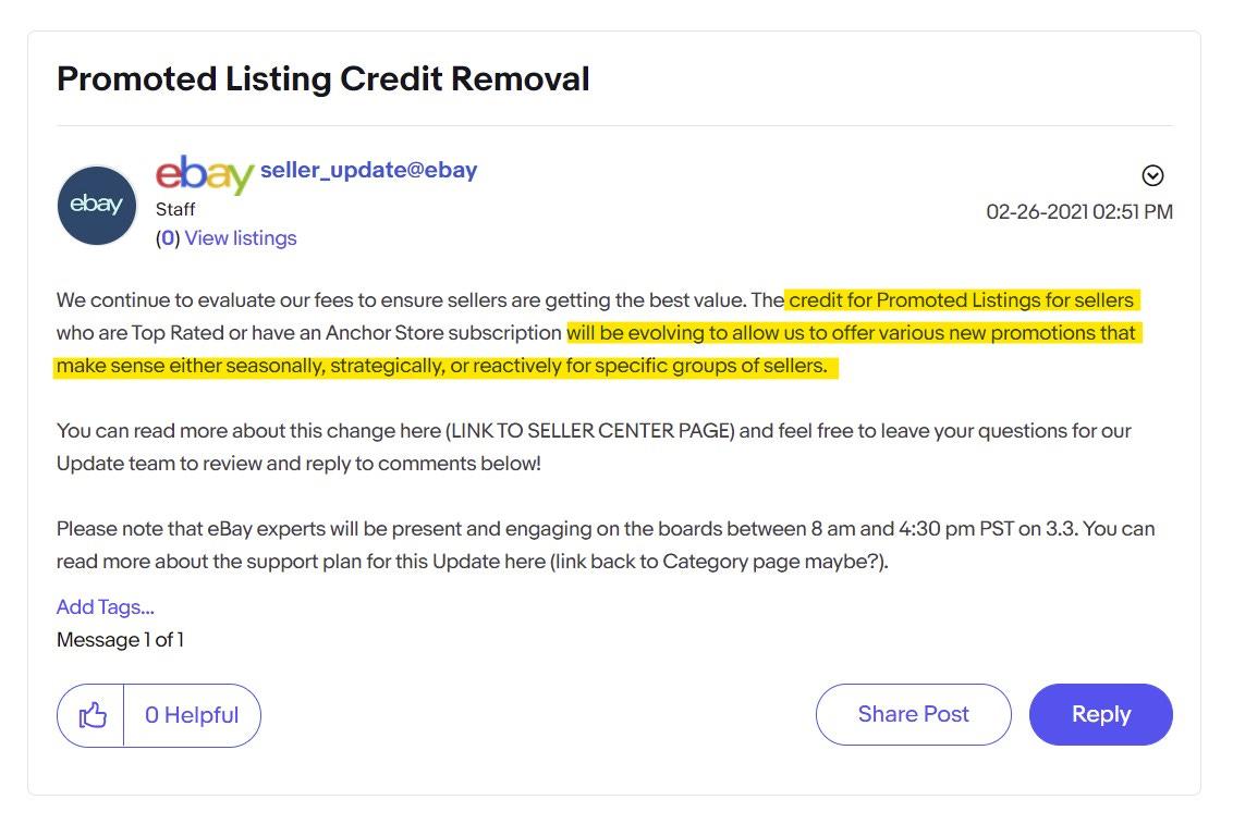 eBay Spring Seller Update Promoted Listing Credit Removal