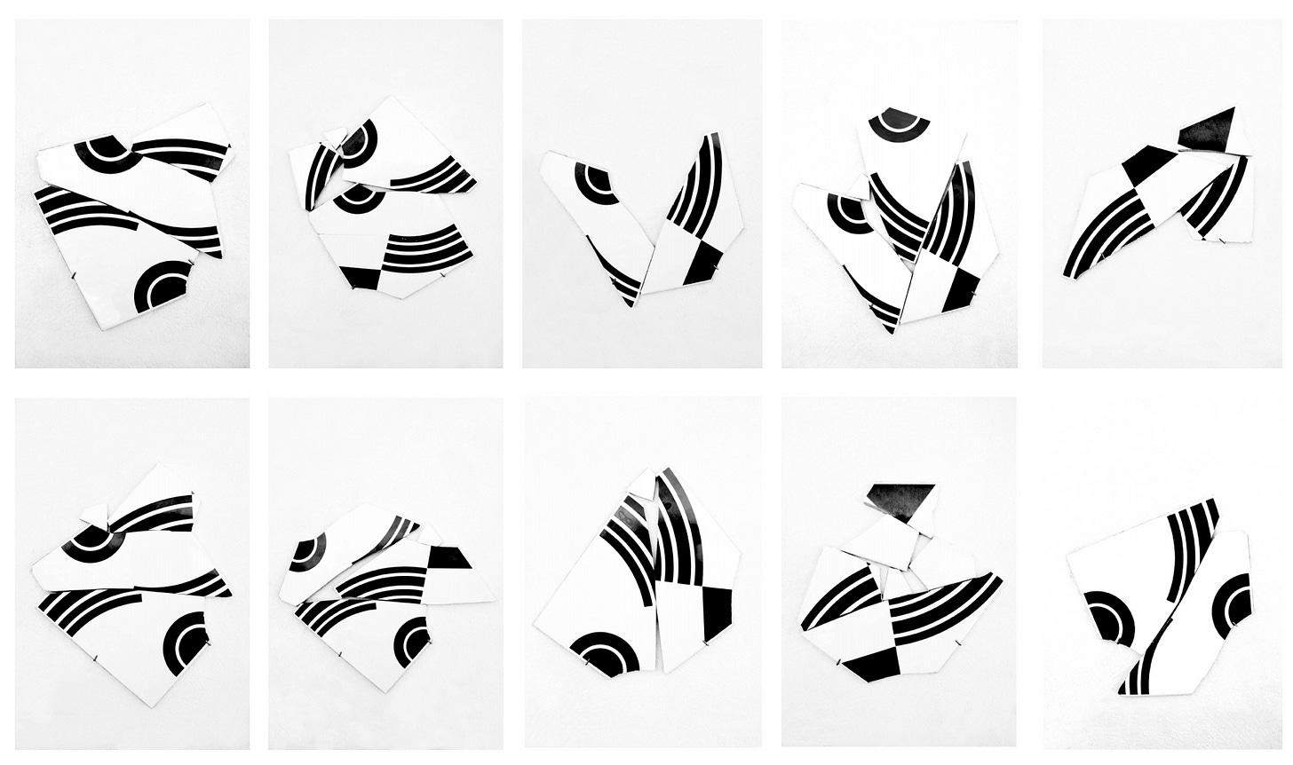 Uma sequência de dez fotografias onde os mesmos pedaços de azulejos se combinam em formas diferentes