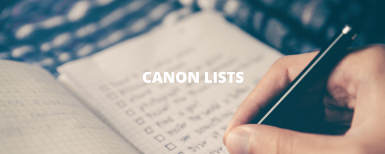 heading: canon lists. A person using a pen and writing a list with checkboxes.
