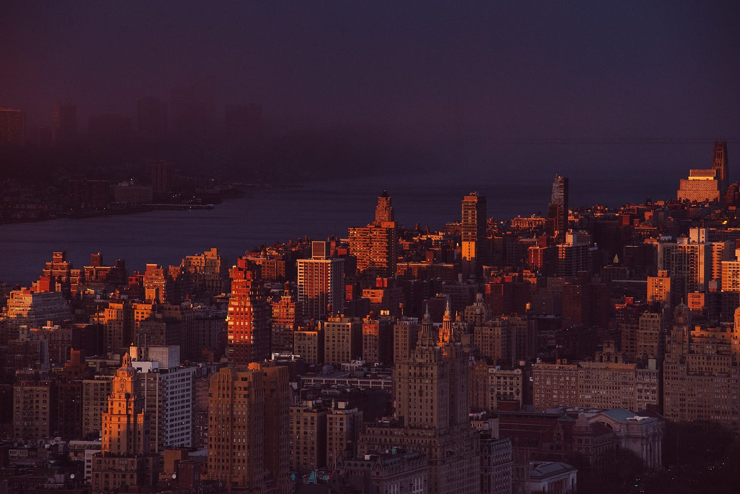 A view over the upper west side of Manhattan at sunset.