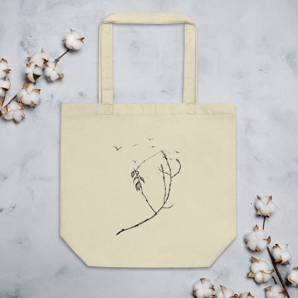 Tree branches and seven birds | Line drawing | Eco tote bag