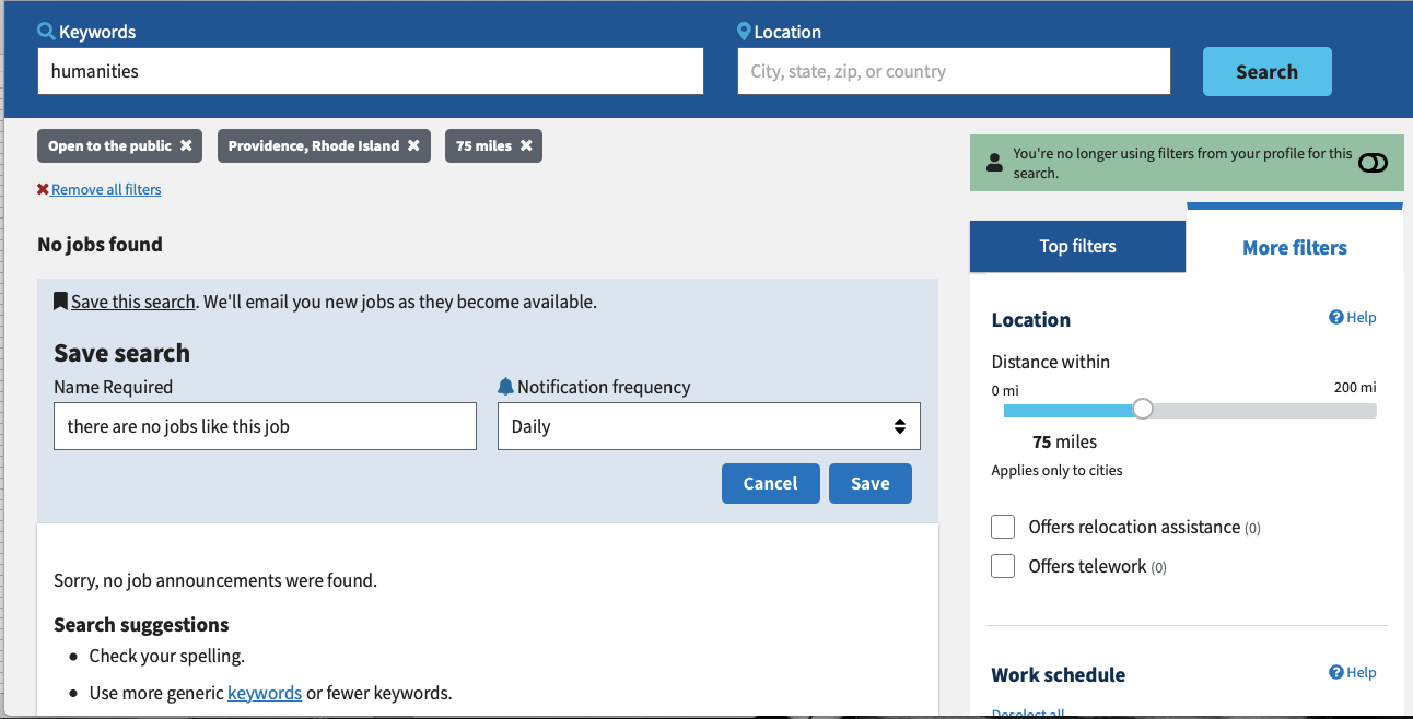 """Screengrab showing where to find the radius filter in USAJOBS. Click """"more filters"""" in the right-hand menu."""