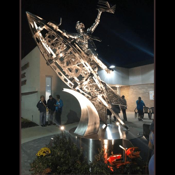The Ray Bradbury statue outside the Waukegan Public Library.