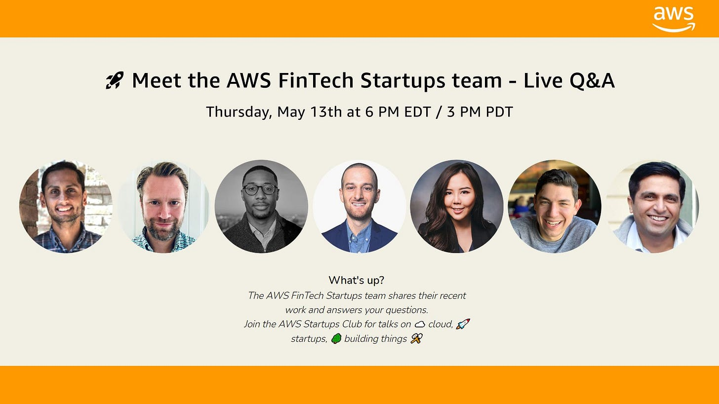 AWS FinTech Startups team on Clubhouse