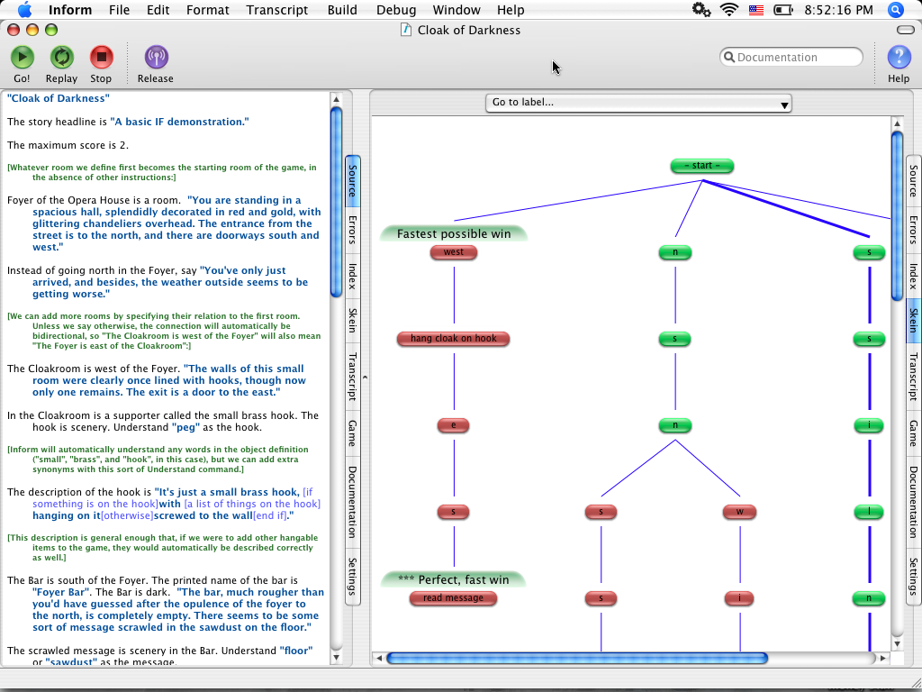 Screenshot of Inform application, showing source code in the left pane and a tree of branching commands on the right.