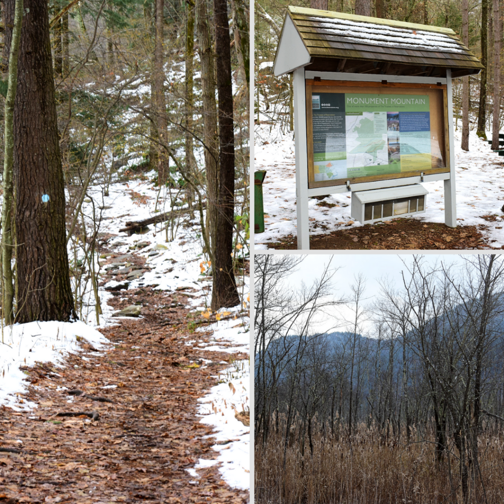 A collage of photos from Monument Mountain in the Berkshires.