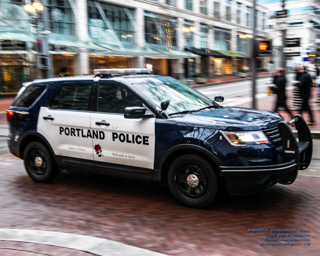 Panning A Ford Police Interceptor SUV of Ze Portland Police