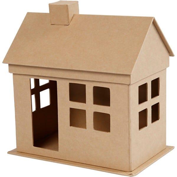 Maison en papier mâché à décorer - 23 x 22,5 x 14,5 cm - Objets divers à  décorer - Creavea