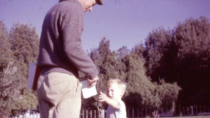 A young David Slack would trail around after his father Tony all over the farm in his little gumboots.