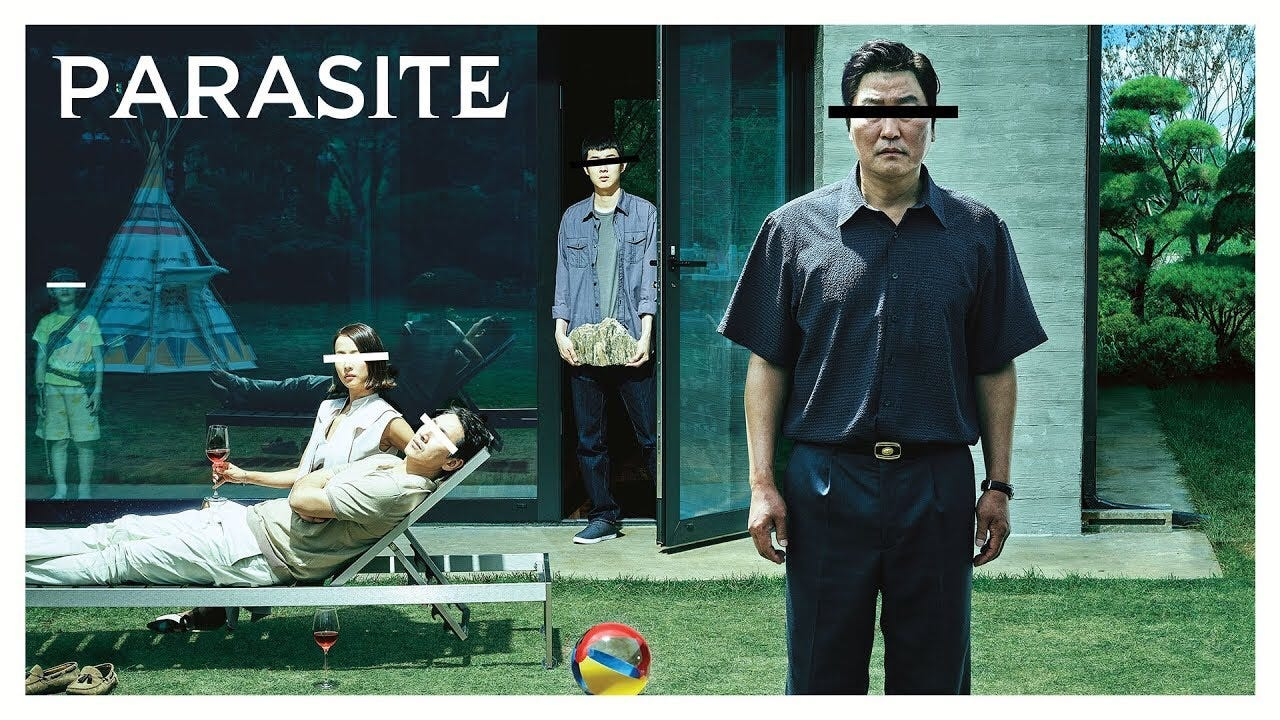 A picture of the movie poster for Parasite.