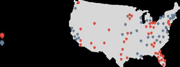 Homee ayrıca sitesinde hizmet verdiği ve hizmet vermeye hazırlandığı bölgelerin haritasını da paylaşmış. Bahse girerim Home Depot'un olmadığı bir gri nokta yoktur.