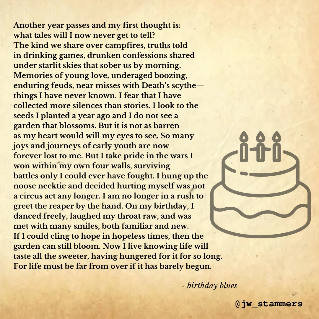 Graphic of the poem on an old parchment background and a faded illustration of a birthday cake.