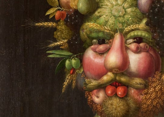Detail of Vertumnus, by Mannerist painter Giuseppe Arcimboldo produced in Milan c. 1590. Arcimboldo's most famous work, it depicts the Holy Roman Emperor Rudolf II as Vertumnus, the Roman god of the seasons, transformation and abundance.